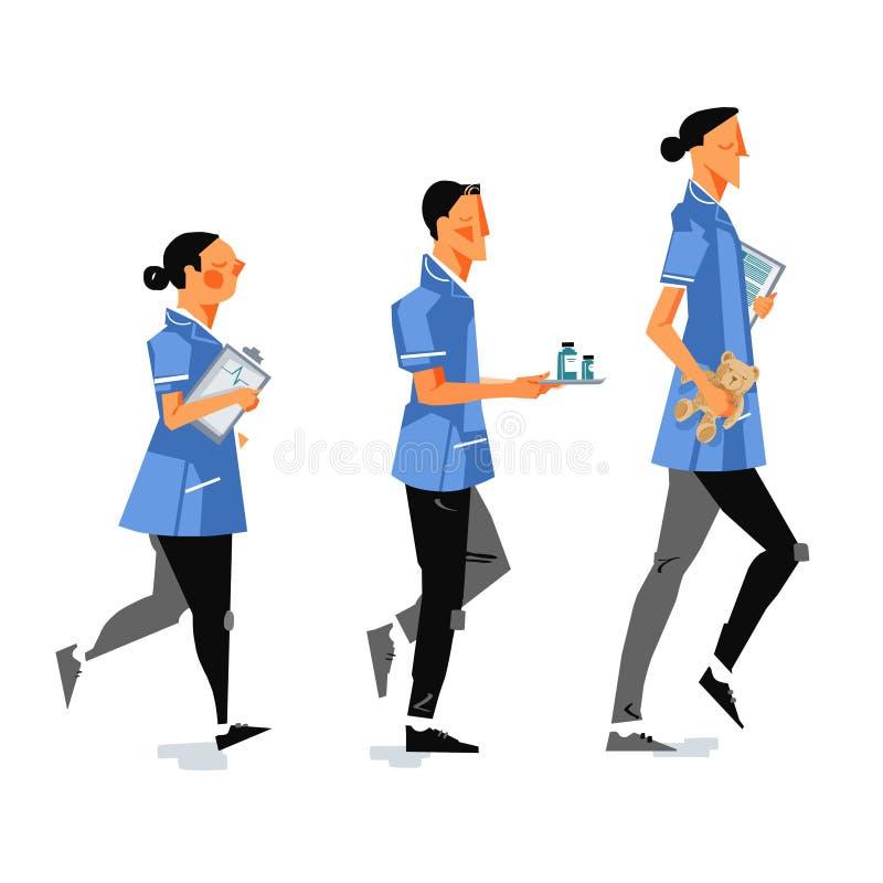 UK nurses illustration stock illustration