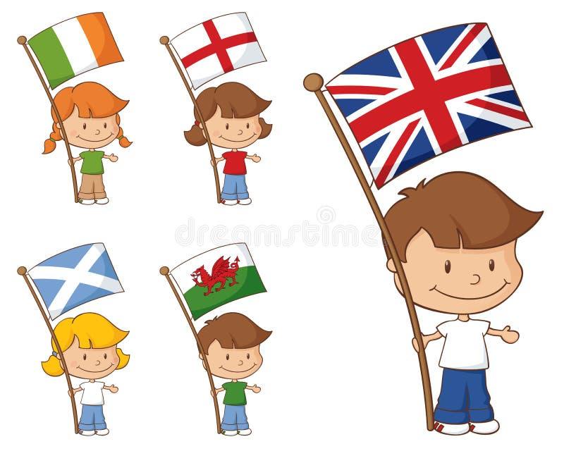 UK- och Eire flaggor stock illustrationer