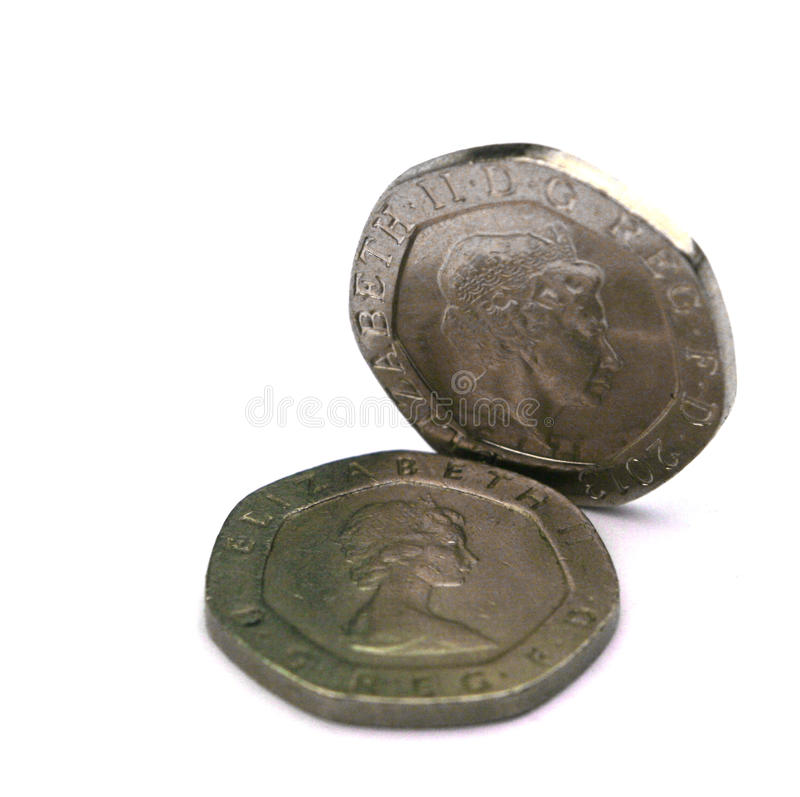 UK 20p coins stock image