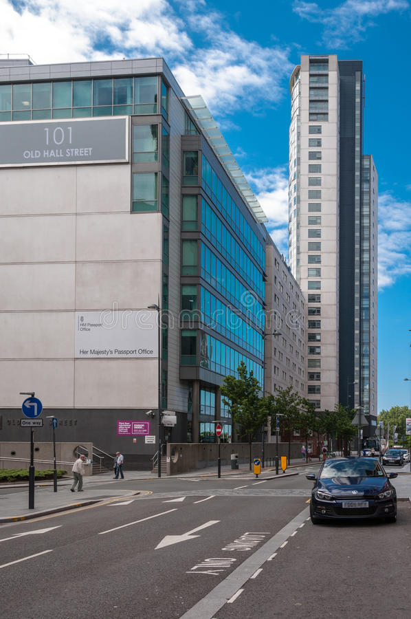UK passport office Liverpool, UK. HMPO's headquarters is collocated with the Home Office at 2 Marsham Street and it has seven regional offices around the UK royalty free stock images