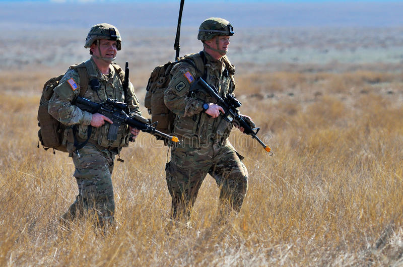 UK piechota w militarnym wieloboku obraz stock