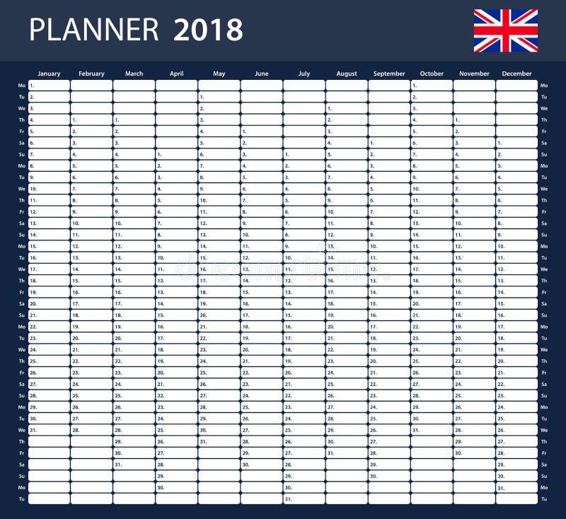UK Planner blank for 2018. English Scheduler, agenda or diary template. UK Planner blank for 2018. English Scheduler, agenda or diary template stock illustration