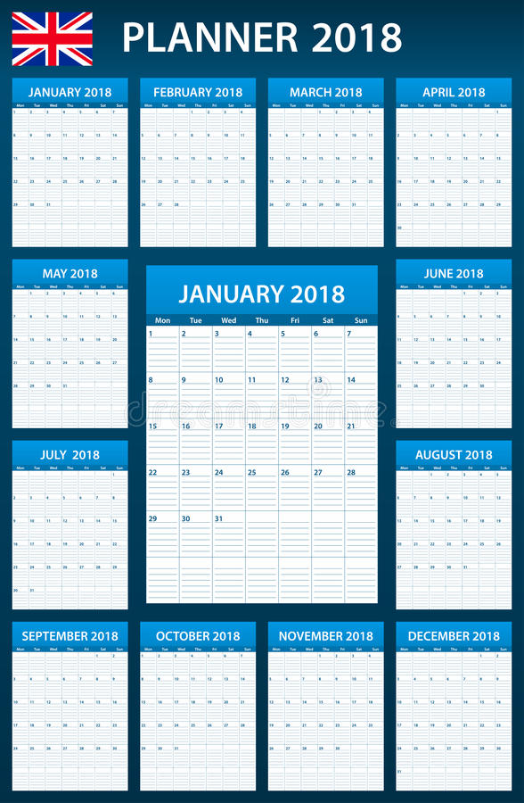 UK Planner blank for 2018. English Scheduler, agenda or diary template. Week starts on Monday.  stock illustration
