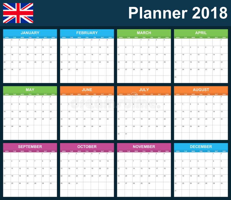 UK Planner blank for 2018. English Scheduler, agenda or diary template. Week starts on Monday.  royalty free illustration