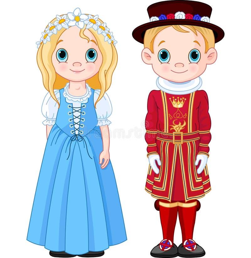 UK-pojke och flicka royaltyfri illustrationer