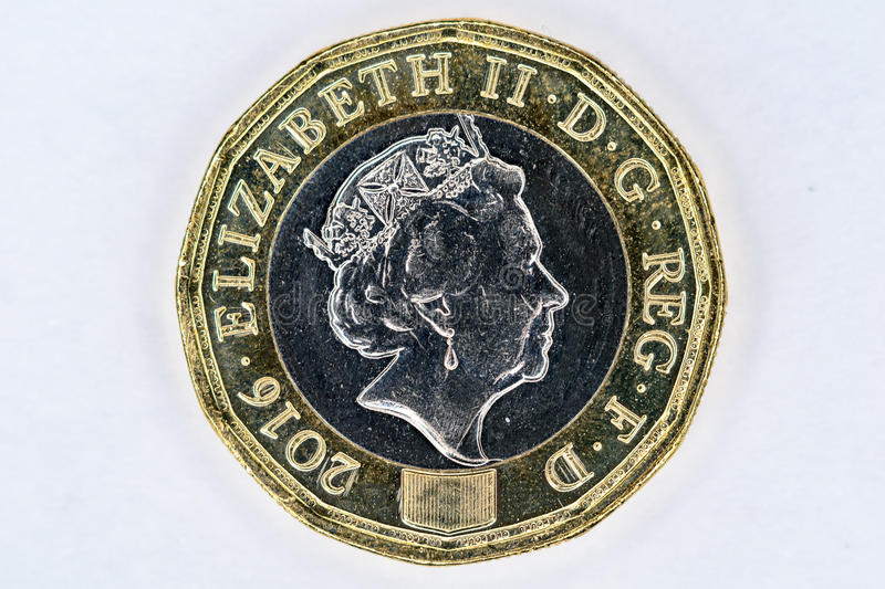 UK pound coin. New UK twelve sided pound coin back stock images