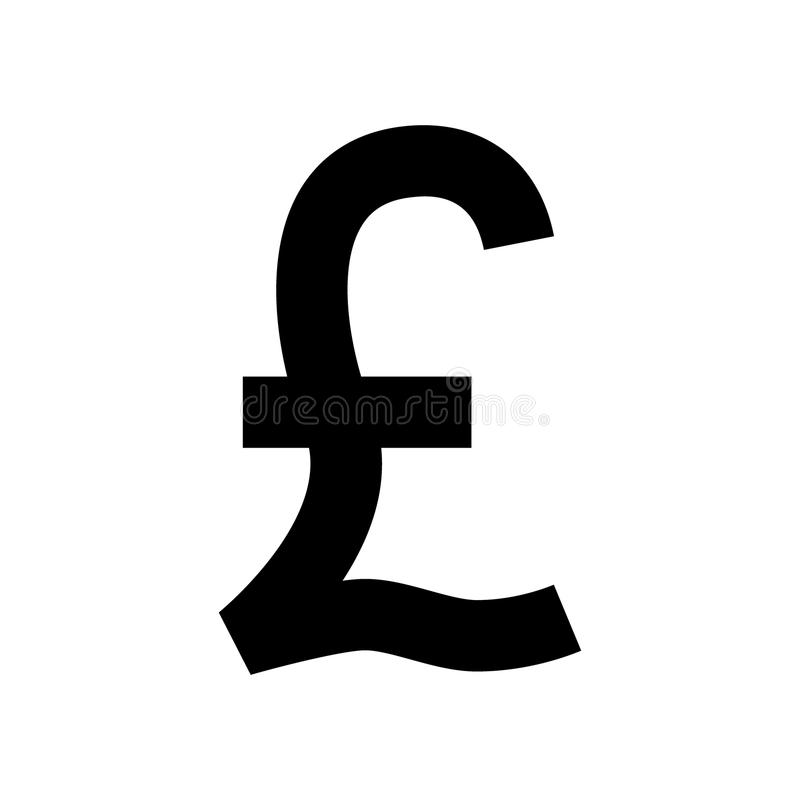Uk pound currency symbol. Black British pound sign. Pound icon. royalty free illustration