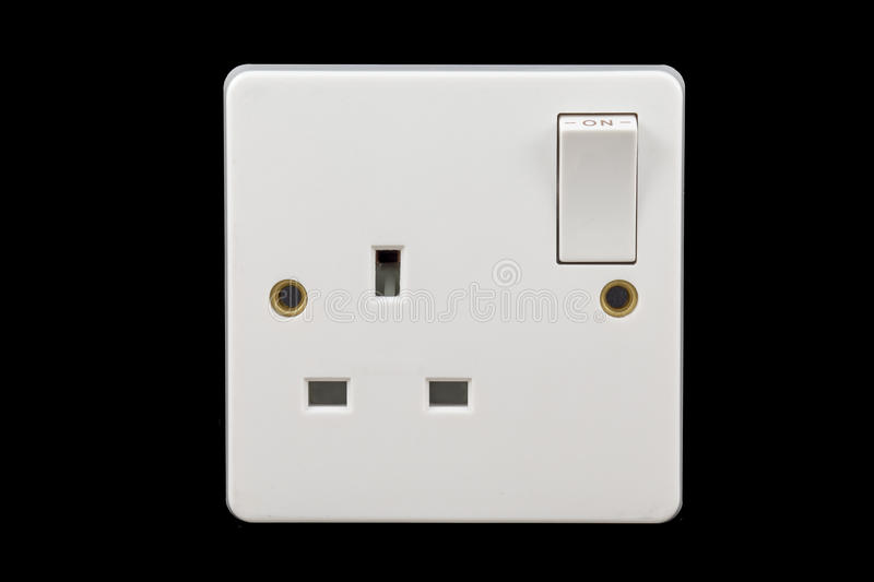 UK power socket in on position royalty free stock photo