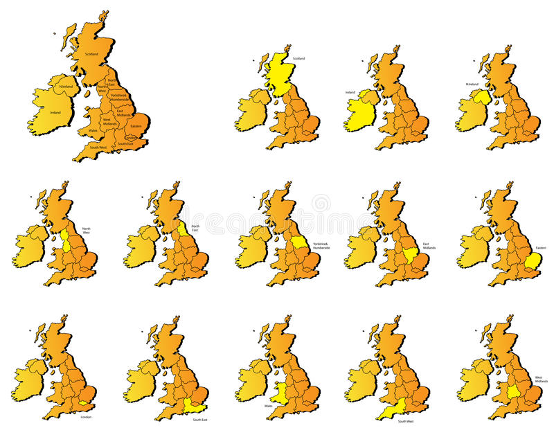 Download Uk provinces maps stock vector. Image of european, continent - 31582793