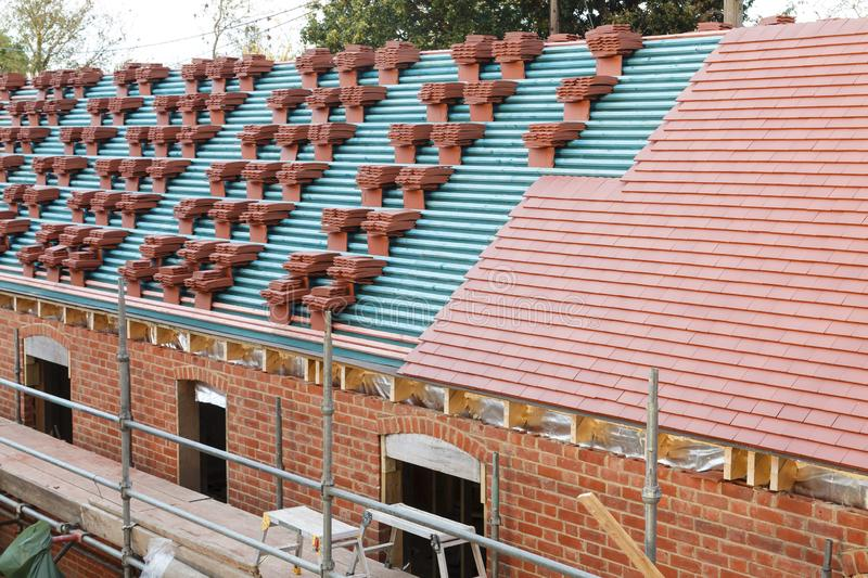 UK roof tiles stock image