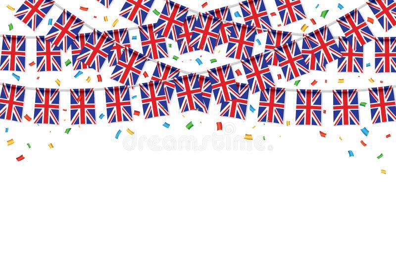 UK sjunker vit bakgrund för girlanden med konfettier royaltyfri illustrationer