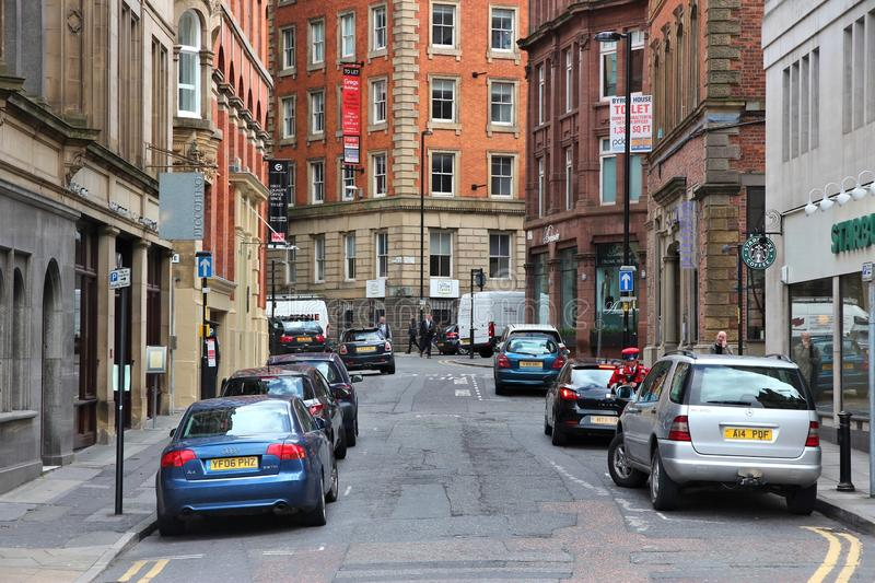 UK street parking. MANCHESTER, UK - APRIL 23, 2013: Street parking in Manchester, UK. Greater Manchester is the 3rd most populous urban area in the UK (2.2 royalty free stock photography