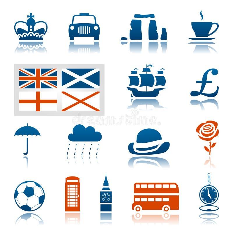 UK-symbolsuppsättning royaltyfri illustrationer