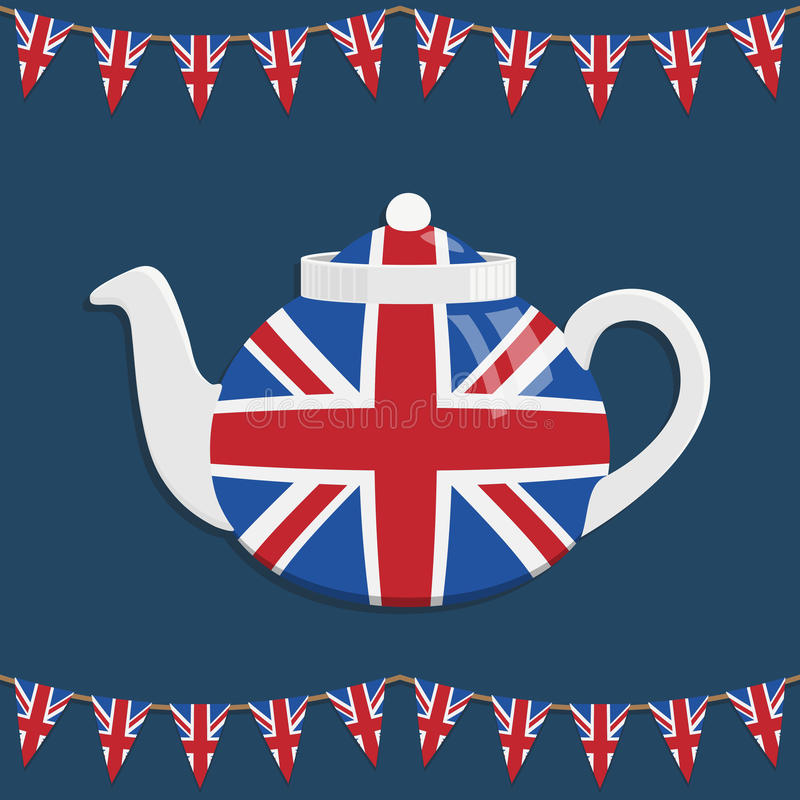 Uk teapot. Great britain teapot decoration with bunting and transparencies vector illustration