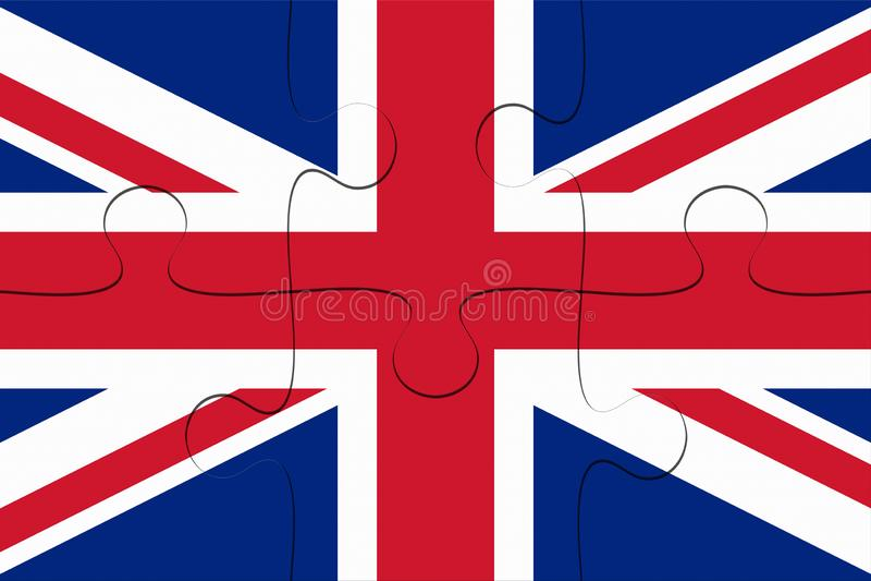 UK-union Jack Flag Jigsaw Puzzle, illustration 3d royaltyfri illustrationer