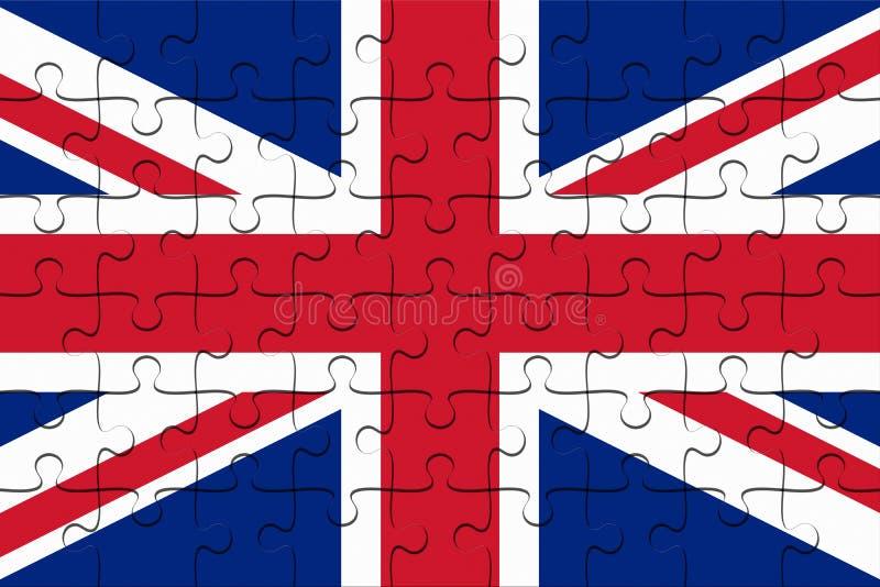 UK-union Jack Flag Jigsaw Puzzle, illustration 3d vektor illustrationer