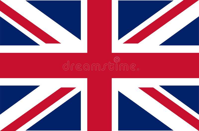 UK. Union Jack. Flag of United Kingdom. Official colors. Correct proportion. Vector illustration. The British flag is flying in th stock illustration