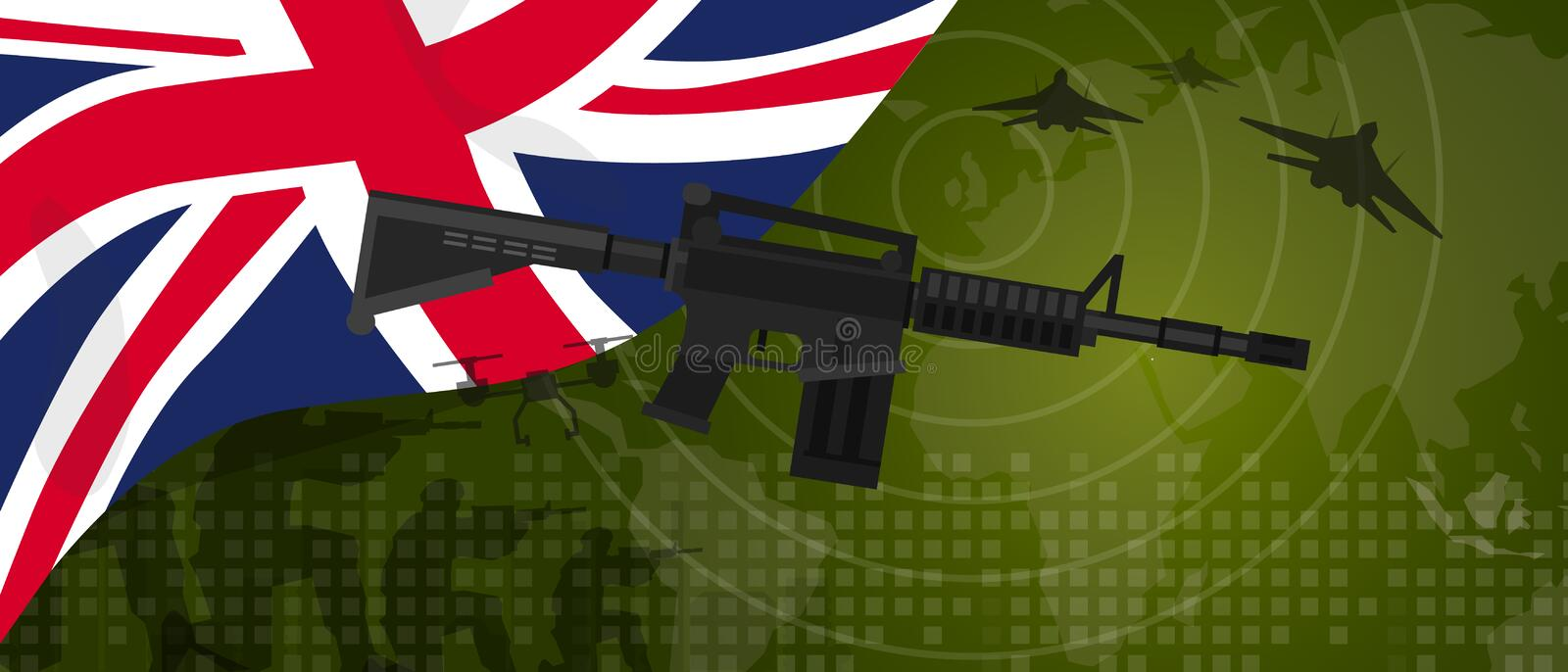 UK United Kingdom England Britain military power army defense industry war and fight country national celebration with. Gun soldier jet fighter and radar vector vector illustration
