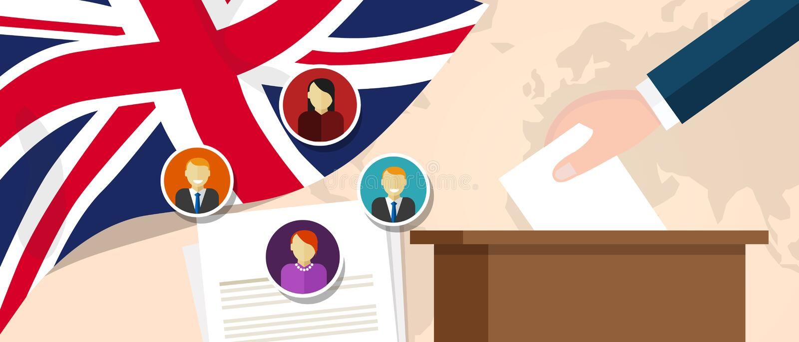 UK United Kingdom England democracy political process selecting president or parliament member with election and. Referendum freedom to vote vector royalty free illustration