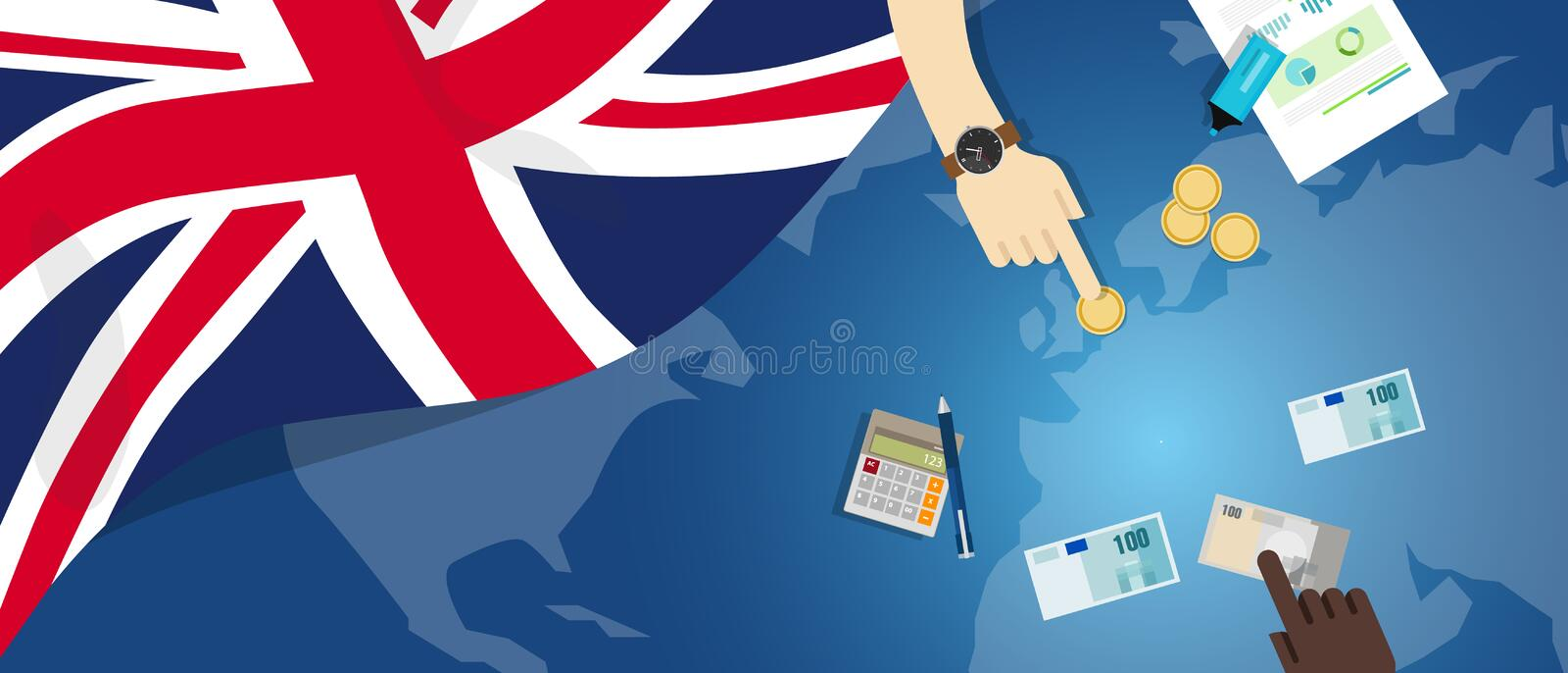 UK United Kingdom England economy fiscal money trade concept illustration of financial banking budget with flag map. And currency vector royalty free illustration