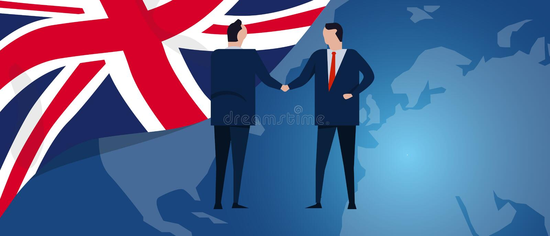 UK United Kingdom English England international partnership. Diplomacy negotiation. Business relationship agreement vector illustration