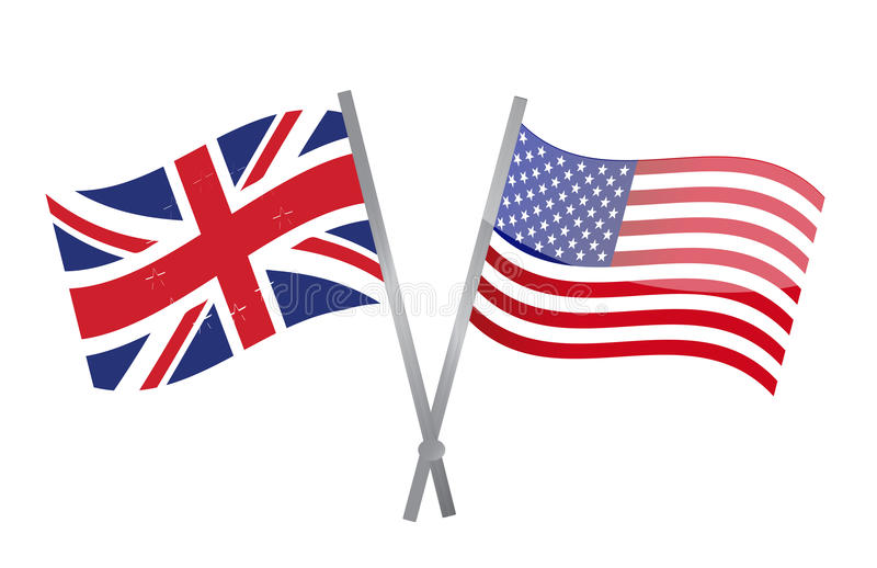 Uk and usa flags join together. illustration stock illustration