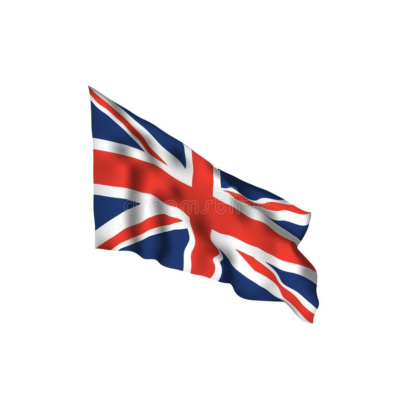 UK waving flag. Vector flag of United Kingdom. With shadows and distortions isolated on white background royalty free illustration