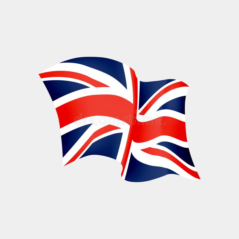 UK waving flag. Vector flag of United Kingdom with shadows. And distortions isolated on white background royalty free illustration