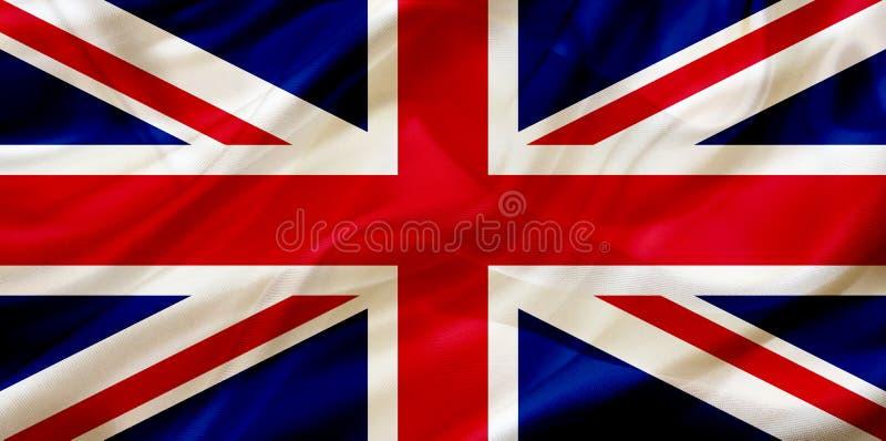 UK Zjednoczone Królestwo kraju flaga na jedwabniczej lub silky falowanie teksturze royalty ilustracja