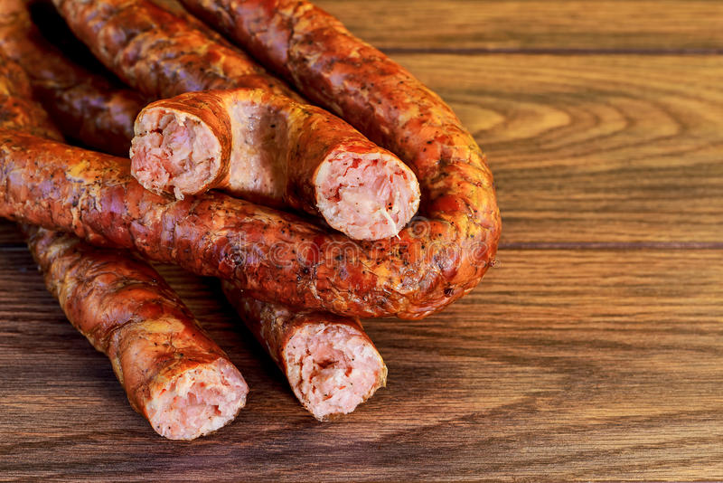 ukarinian homemade kielbasa pork sausage, spiral baked stock photos