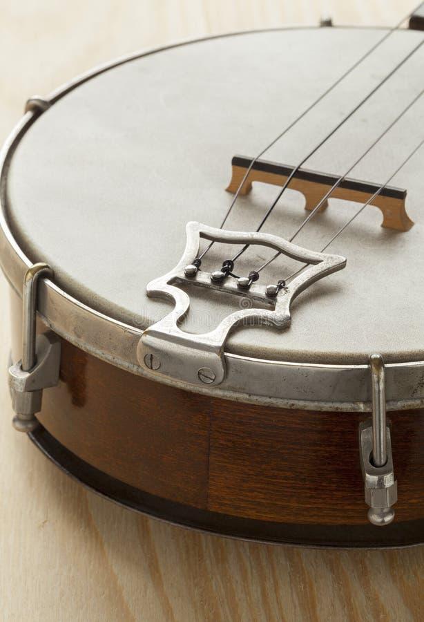 Ukelele banjo tailpiece. Close up royalty free stock photo