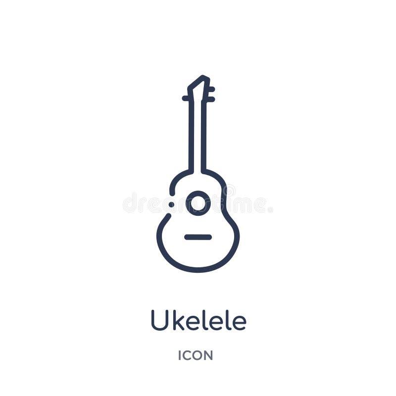 Ukelele-Ikone von der Musikentwurfssammlung Dünne Linie ukelele Ikone lokalisiert auf weißem Hintergrund vektor abbildung