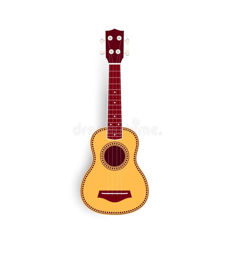 Ukelele vector realistische illustratie, het gele kleine embleem van de discantukelele voor muziekwinkel of Web Hawaiiaanse gitaa vector illustratie