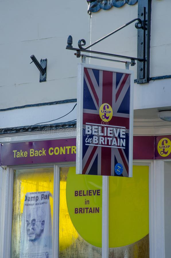 UKIP Offices in Harwich with sign. Harwich Essex United Kingdom -16 November 2017: UKIP Offices in Harwich with sign royalty free stock image