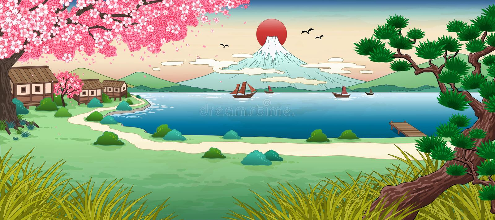 Ukiyo e fuji mountain scenery. With beautiful lake stock illustration