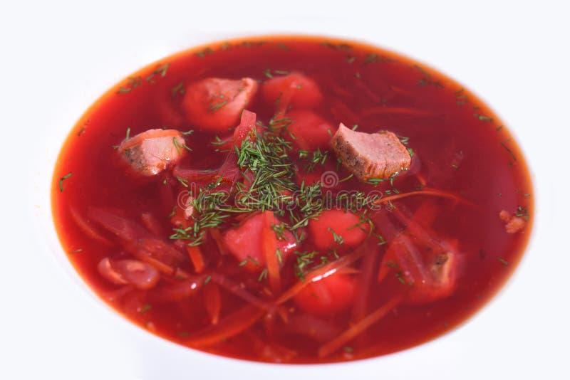 Ukraińscy barszcze z W górę mięsa - krajowy naczynie zdjęcie stock