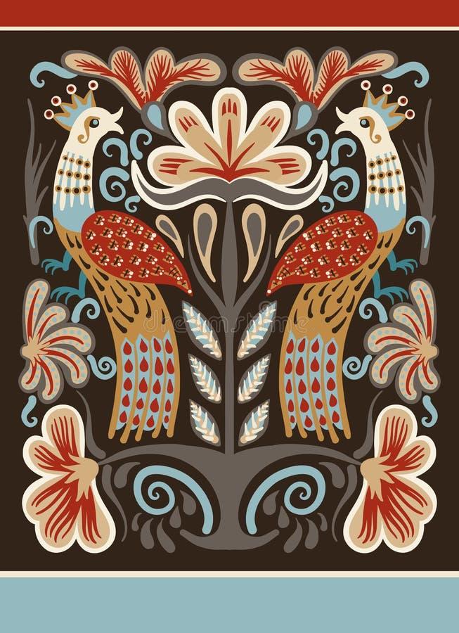 Ukraińska ręka rysujący etniczny dekoracyjny wzór z dwa ptakami ilustracja wektor
