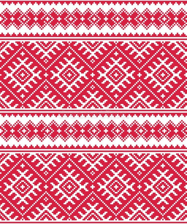 Ukraiński czerwony bezszwowy ludowy broderia wzór, druk lub ilustracja wektor