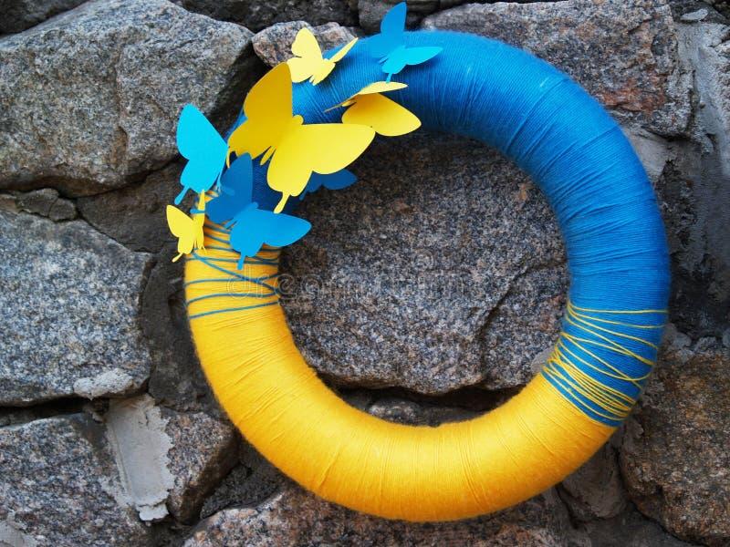 Ukraiński krajowy błękitny lifebuoy fotografia stock