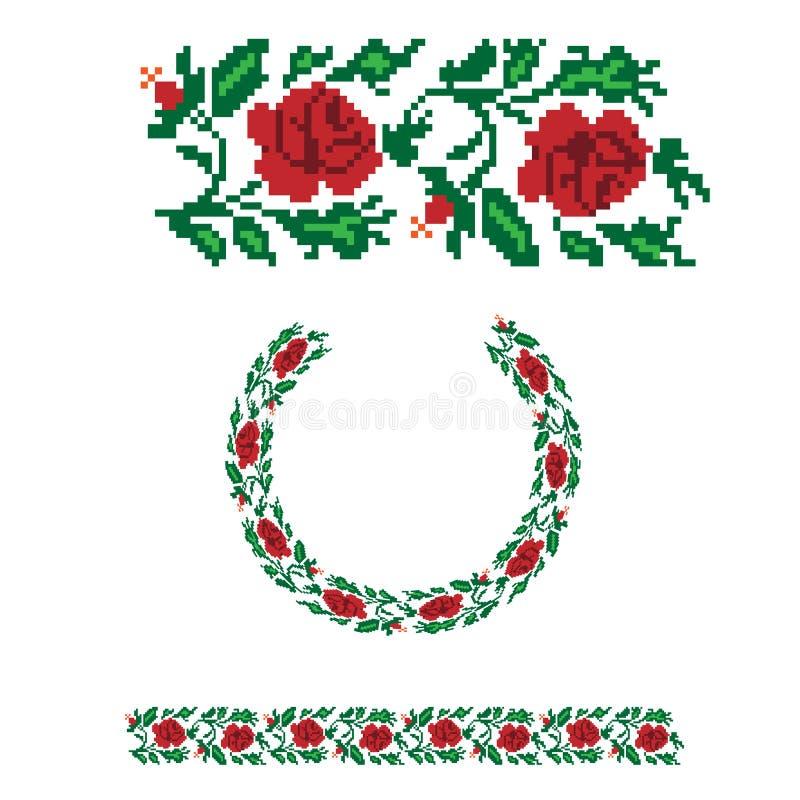 Ukraiński kwiecisty ornamentacyjny wzór ilustracja wektor