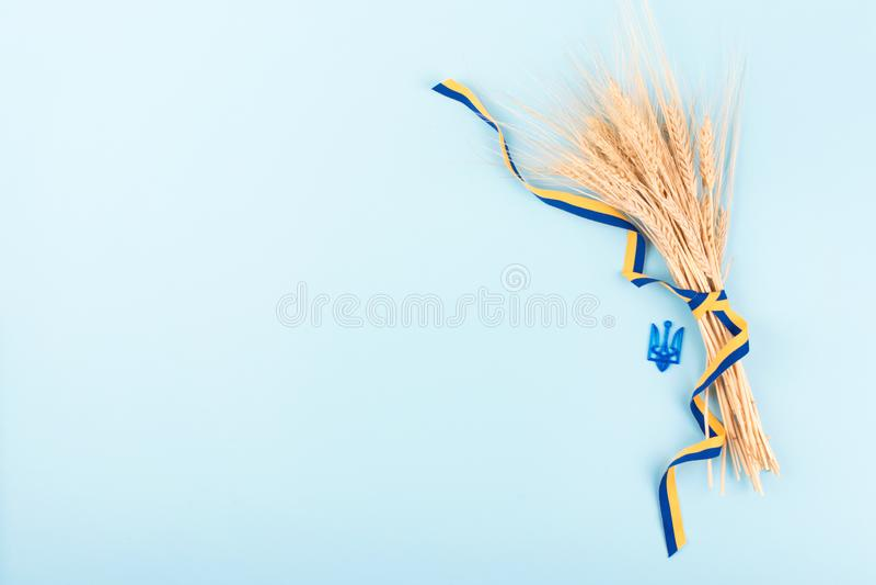 Ukraiński tło z krajowymi symbolami, żakiet ręka trójząb, kolor żółty i błękitny faborek, złoci pszeniczni spikelets na błękicie  zdjęcia stock