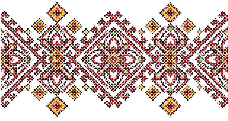 Ukraińskiego etnicznego stylu krzyża ściegu hafciarski geometryczny wzór ilustracji