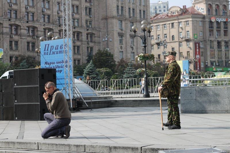 Ukraina, Ñ  ossaÑ  k, Kyiv, majdan Nezalezhnosty (niezależność kwadrat) fotografia stock