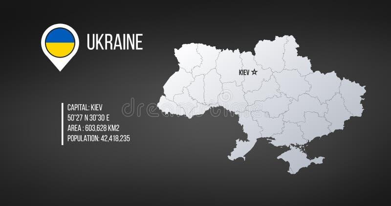 Ukraina översikt med allmän information infographics med redigerbart avskilt lager, zoner, beståndsdelar och områdesområde vektor vektor illustrationer
