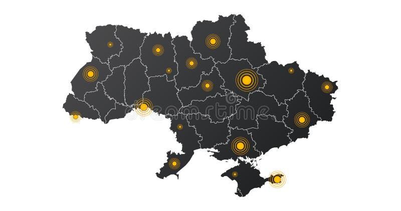 Ukraina översikt med epicentrum- eller signalcirkelpunkter infographics med redigerbart avskilt lager, zoner, beståndsdelar och o royaltyfri illustrationer