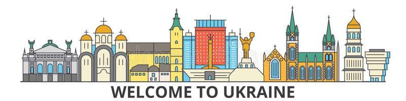 Ukraina översiktshorisont, plan tunn linje symboler, gränsmärken, illustrationer för ukranian Ukraina cityscape, ukranian lopp stock illustrationer