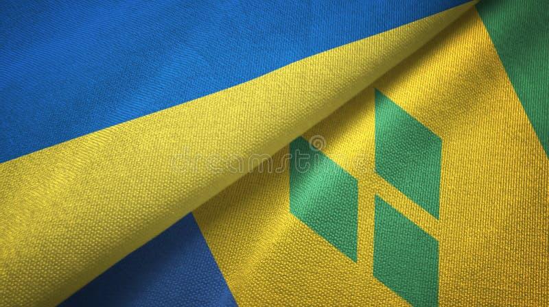 Ukraina, święty Vincent i grenadyn dwa flag tkaniny płótno ilustracja wektor
