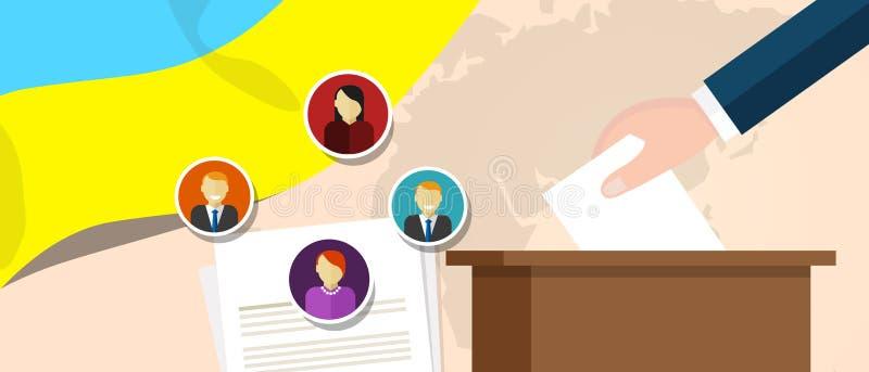 Ukraina demokraci proces polityczny wybiera prezydenta lub parlamentu członka z wolnością wybory i referendum ilustracja wektor