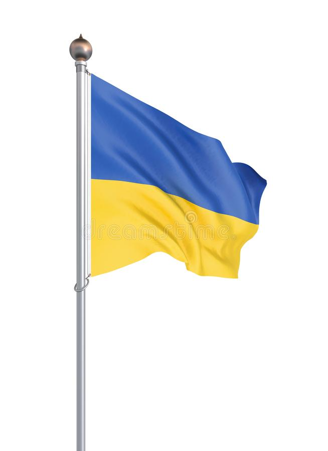 Ukraina flaga dmuchanie w wiatrze t?o szczeg 3d rendering; fala Odizolowywaj?cy na bielu ilustracja ilustracji