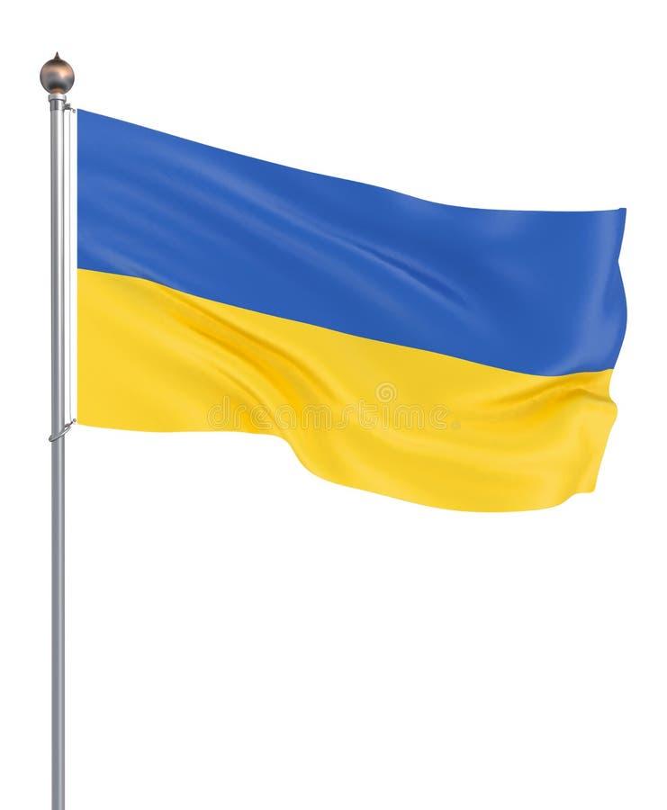 Ukraina flaga dmuchanie w wiatrze t?o szczeg 3d rendering; fala Odizolowywaj?cy na bielu ilustracja royalty ilustracja